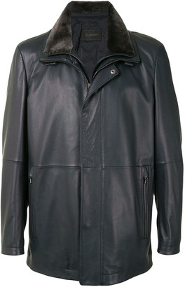 Durban Panelled Leather Coat