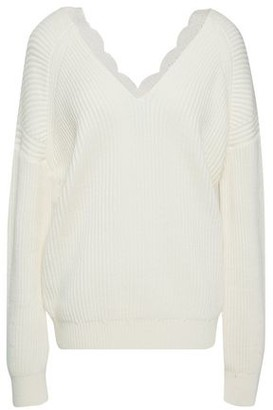 Maje Lace-trimmed Ribbed Wool-blend Sweater