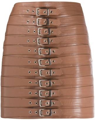 Manokhi Multi-Strap Leather Skirt