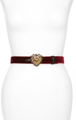 Dolce & Gabbana Devotion Logo Heart Buckle Velvet Belt