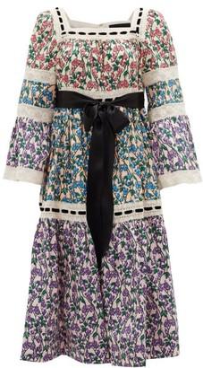 MARC JACOBS, RUNWAY Marc Jacobs Runway - Tiered Floral-print Cotton-poplin Midi Dress - Multi