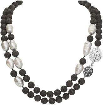 Michael Aram Botanical Silver Lava Rock 12Mm Necklace