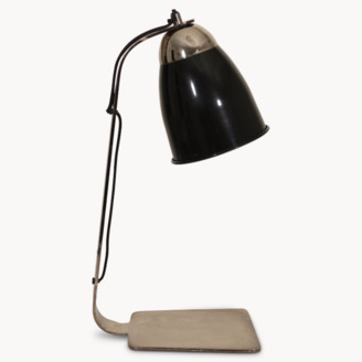 One world trading - Willowmore Nickel Table Lamp With Black Glass Shade - Black/Silver