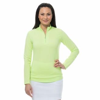 SanSoleil Women's SolTek ICE UV 50 Zip Mock Lime Medium
