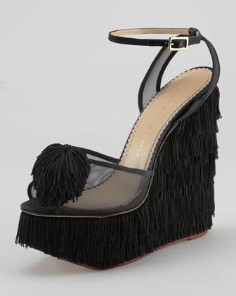 Charlotte Olympia Gigi Fringe Wedge Sandal, Black