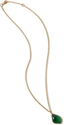 Mulberry Flower Garden Petal Necklace Emerald Glass and Brass