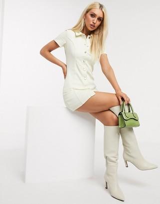 In The Style denim button through mini dress in cream