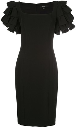 Badgley Mischka Ruffle-Sleeve Fitted Dresss