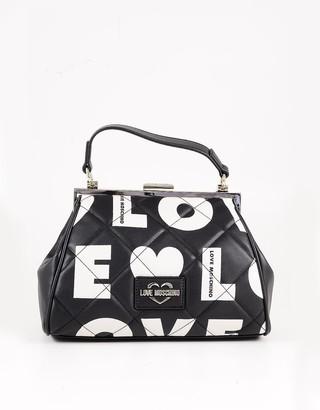 Love Moschino Black&White Eco Leather Signature Satchel Bag