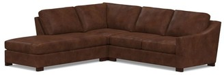 Pottery Barn Turner Slope Arm Leather 3-Piece Bumper Sectional