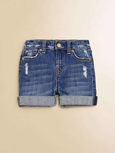7 For All Mankind Toddler's & Little Girl's Distressed Denim Shorts