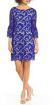 Eliza J Boat Neck Bell Sleeve Lace Shift Dress