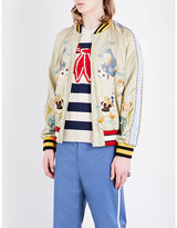 Gucci Donald Duck-embroidered Satin Bomber Jacket