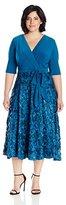 Alex Evenings Women's Plus Size T-Length Dress with Rosette Skirt