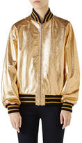 Gucci Guccy-Print SEGA® Leather Bomber Jacket