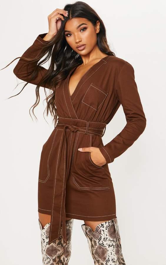 PrettyLittleThing Chocolate Contrast Stitching Utility Bodycon Dress