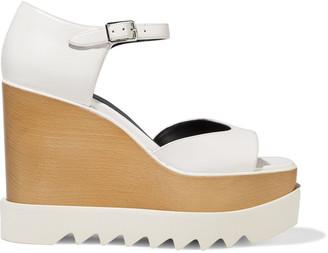 Stella McCartney Felik Faux Leather Wedge Sandals
