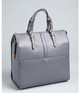 Giorgio Armani slate grained leather buckled large top handle satchel