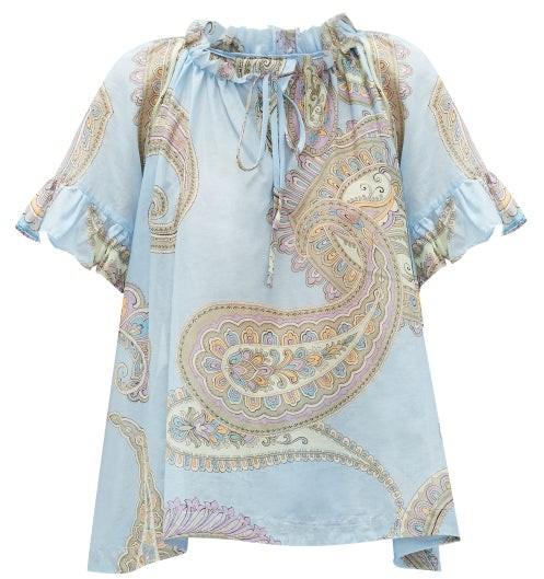 Loup Charmant Marina Ruffled Paisley-print Cotton Blouse - Blue Print