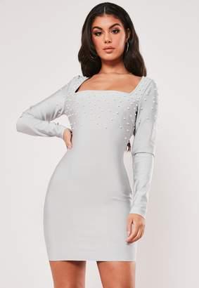 Missguided Premium Grey Bandage Embellished Mini Dress