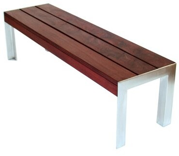 Metal and brazilian walnut bench