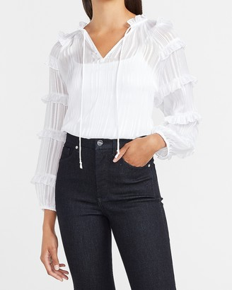 Express Metallic Tiered Balloon Sleeve Top