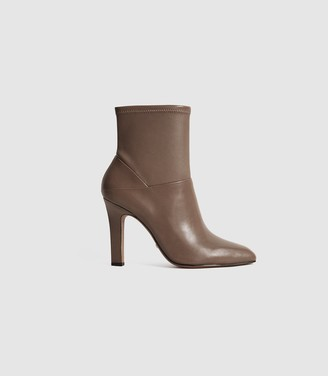Reiss CARRIE LEATHER ANKLE BOOTS Taupe