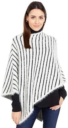 San Diego Hat Company Fuzzy Yarn Striped Poncho (Cream) Scarves
