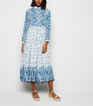 New Look Floral Shirt Midi Dress