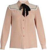 Miu Miu Neck-tie silk crepe de Chine blouse