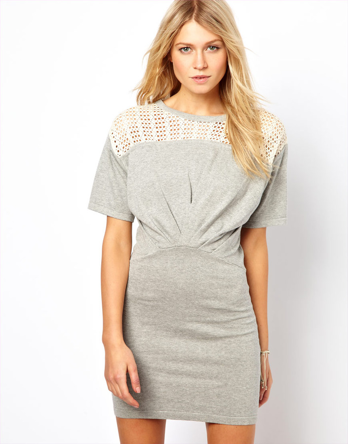 Asos Knitted Dress With Lace Top