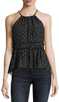 Joie Shawnette Halter Silk Chiffon Blouse with Metallic