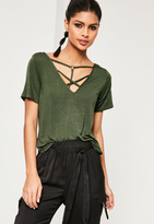 Missguided Khaki Cross Front Harness Ring Detail T-Shirt