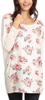 Ivory Floral Three-Quarter Sleeve Top