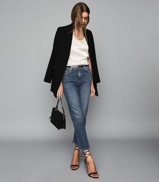 Reiss Bailey - Mid Rise Straight Jeans in Washed Blue