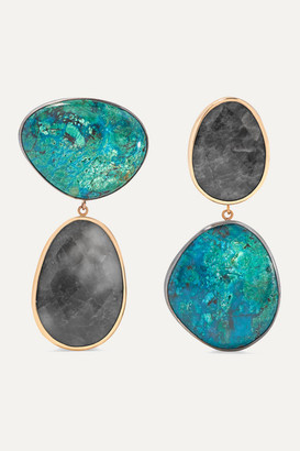 Melissa Joy Manning 14-karat Gold, Sterling Silver, Chrysocolla And Quartz Earrings - one size