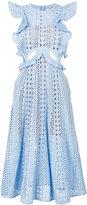 Self-Portrait ruffle trim cut -out dress - women - Cotton/Polyester - 8