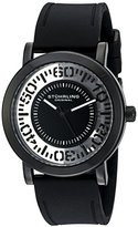 Stuhrling Original Men's 830.03 Symphony Quartz Tranparent Floating Dial Black Rubber Strap Watch