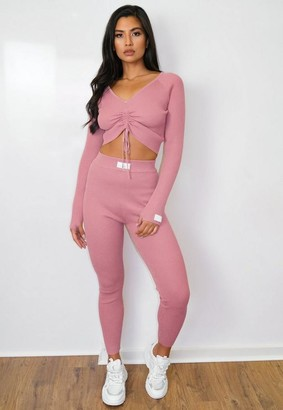 Missguided Tall Pink Co Ord Msgd Ruched Front Crop Top