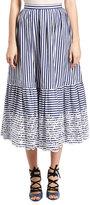 Erdem Leigh Striped Midi Skirt, Blue