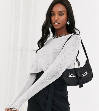 Noisy May Tall cropped sweater with v neck in gray