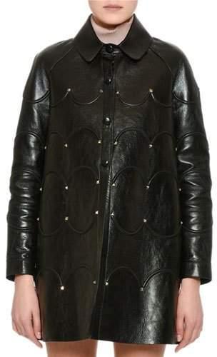 Valentino Scalloped Rockstud Leather Coat, Black