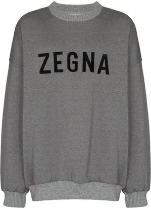 Ermenegildo Zegna Logo Print Slouched Sweatshirt