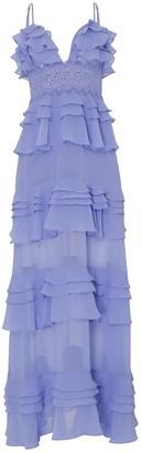 True Decadence Cornflower Blue Tiered Ruffle Maxi Dress