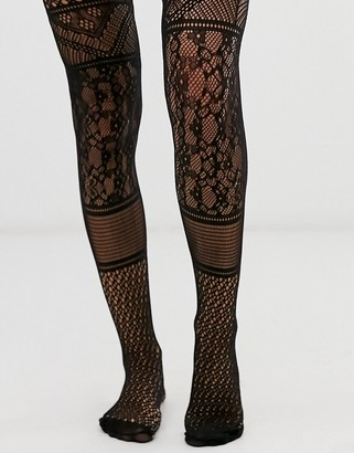ASOS DESIGN panelled lace tights