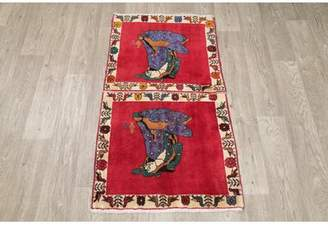 "Schick Bloomsbury Market One-of-a-Kind Pictorial Persian 2 Piece Hand-Knotted 2'2"" x 3'11"" Wool Red Area Rug Set Bloomsbury Market"