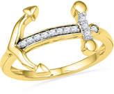 Zales 1/10 CT. T.W. Diamond Sideways Anchor Ring in 10K Gold