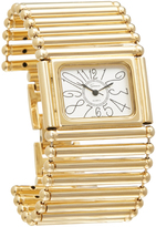 Geneva Platinum Goldtone Bar Square Bracelet Watch