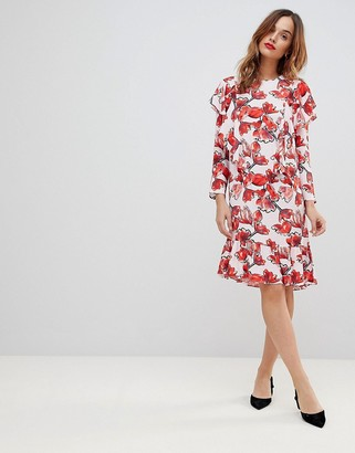 Y.A.S graphic floral frill midi shift dress