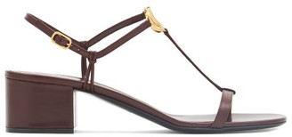 Valentino V-logo Block-heel Leather Sandals - Burgundy